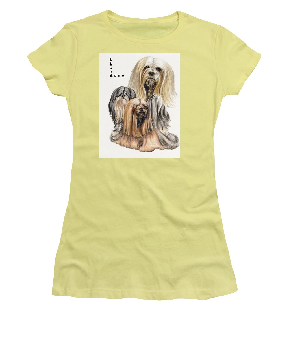 Non-sporting Women's T-Shirt (Athletic Fit) featuring the drawing Lhasa Apso by Barbara Keith