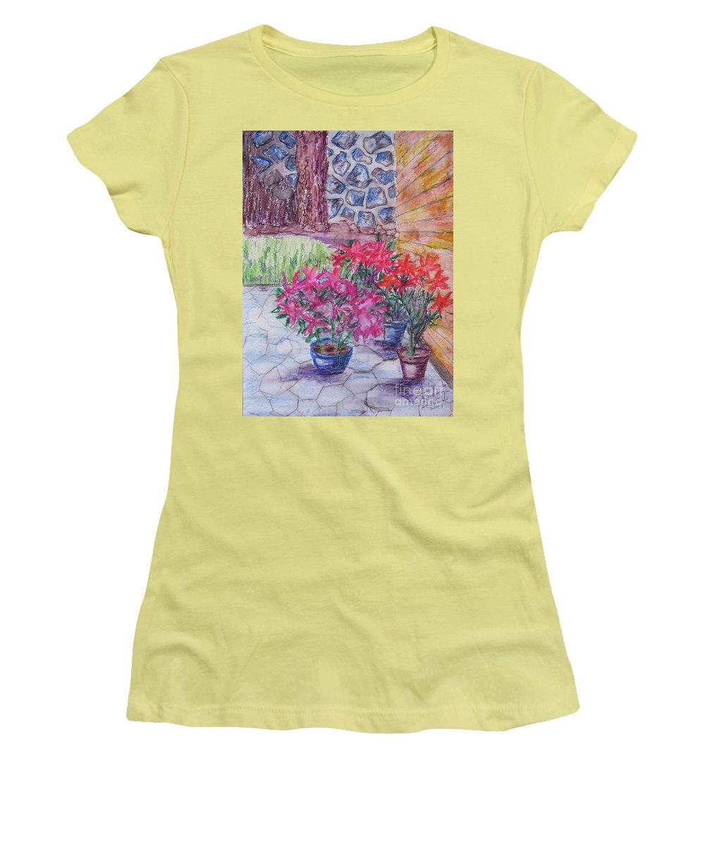 Poinsettias Women's T-Shirt (Athletic Fit) featuring the painting Poinsettias - Gifted by Judith Espinoza