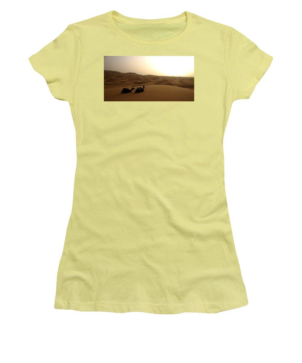 Camel Women's T-Shirt (Athletic Fit) featuring the photograph Two Camels At Sunset In The Desert by Ralph A Ledergerber-Photography