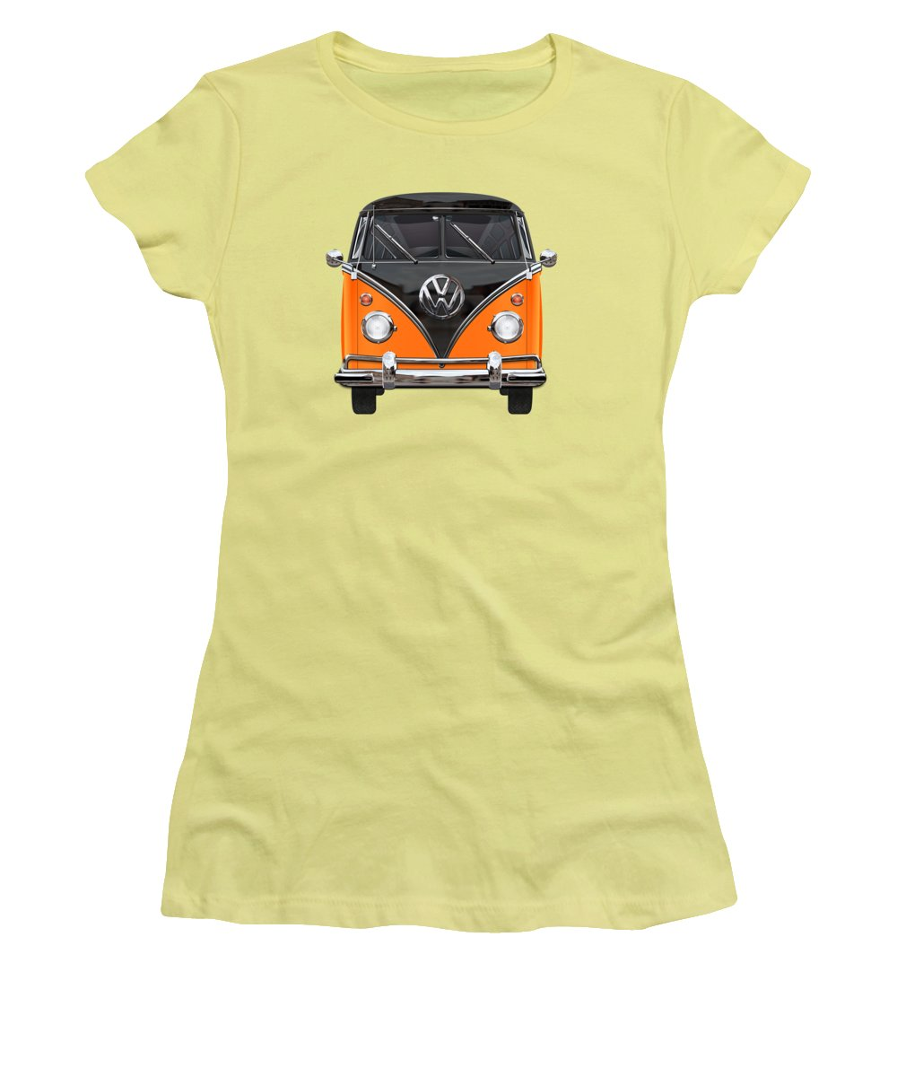 'volkswagen Type 2' Collection By Serge Averbukh Women's T-Shirt (Athletic Fit) featuring the photograph Volkswagen Type 2 - Black And Orange Volkswagen T 1 Samba Bus Over Blue by Serge Averbukh