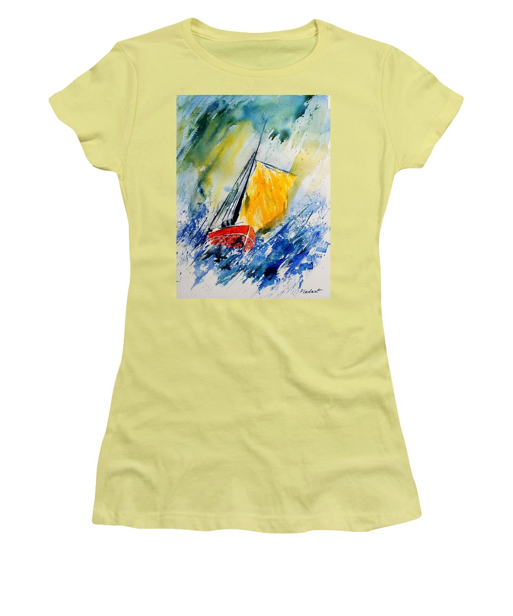 Sea Women's T-Shirt (Athletic Fit) featuring the painting Watercolor 280308 by Pol Ledent
