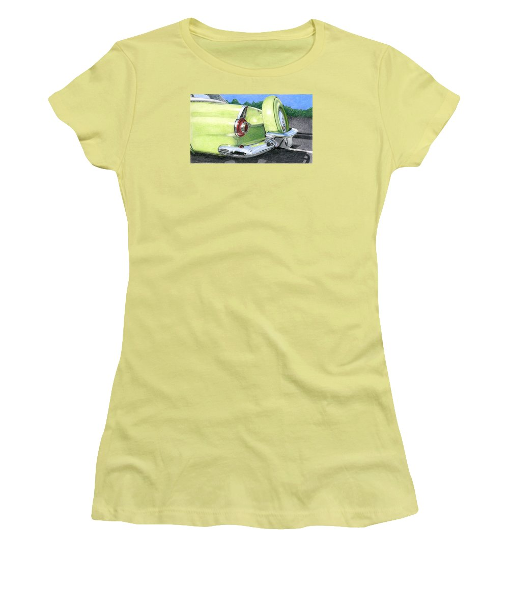 Classic Women's T-Shirt (Athletic Fit) featuring the drawing 1956 Ford Thunderbird by Rob De Vries