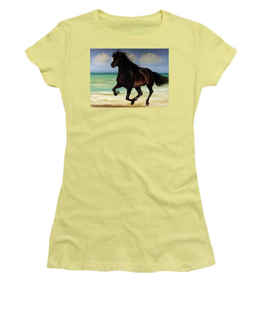 Horse Women's T-Shirt (Athletic Fit) featuring the painting Horses In Paradise Run by Gina De Gorna
