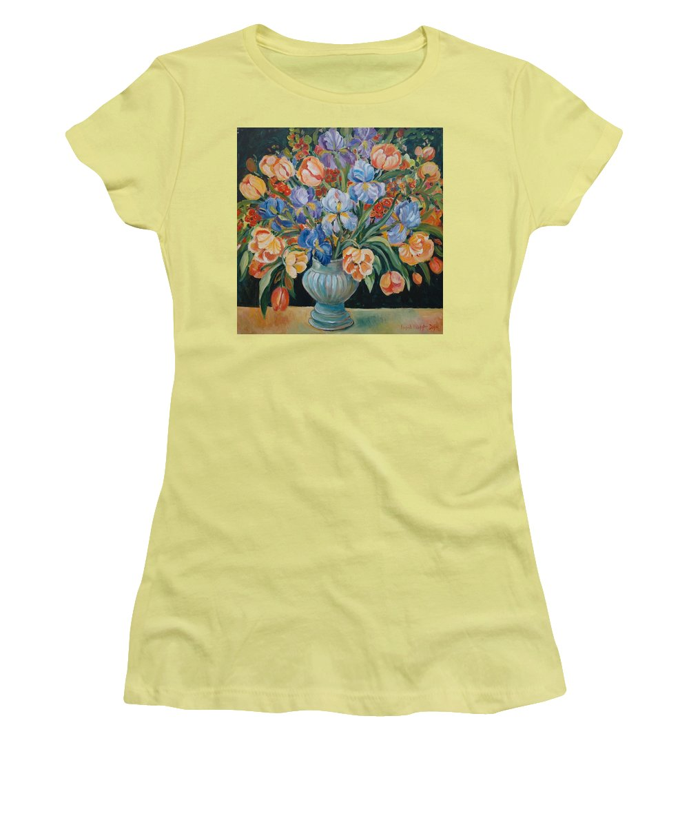 Still Life Women's T-Shirt (Athletic Fit) featuring the painting Tulips by Alexandra Maria Ethlyn Cheshire
