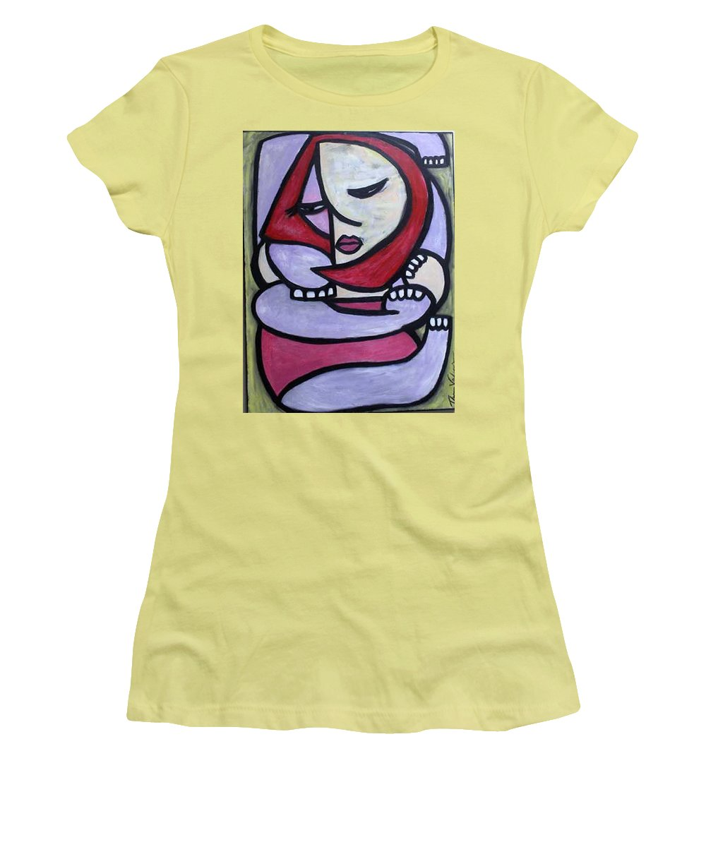 Abstact Women's T-Shirt (Athletic Fit) featuring the painting Hugs by Thomas Valentine