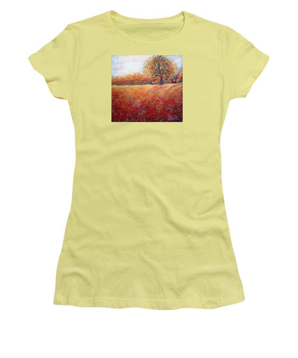 Autumn Landscape Women's T-Shirt (Athletic Fit) featuring the painting A Beautiful Autumn Day by Natalie Holland