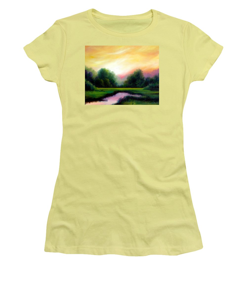 Clouds Women's T-Shirt (Athletic Fit) featuring the painting A Spring Evening by James Christopher Hill