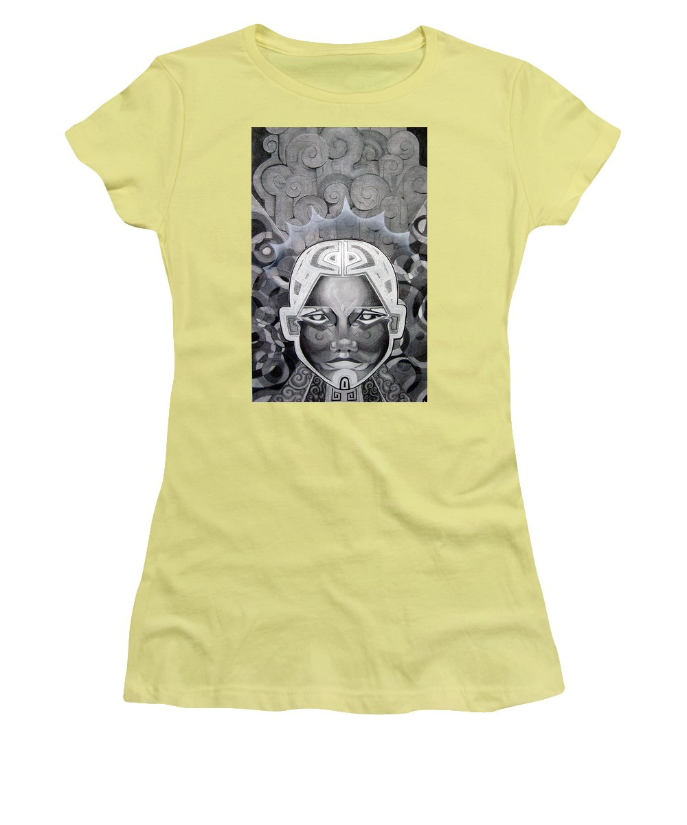Art Women's T-Shirt (Athletic Fit) featuring the drawing Abcd by Myron Belfast