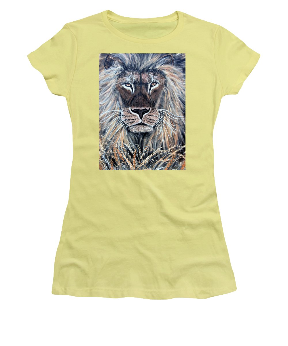 Lion Women's T-Shirt (Athletic Fit) featuring the painting African Lion by Nick Gustafson