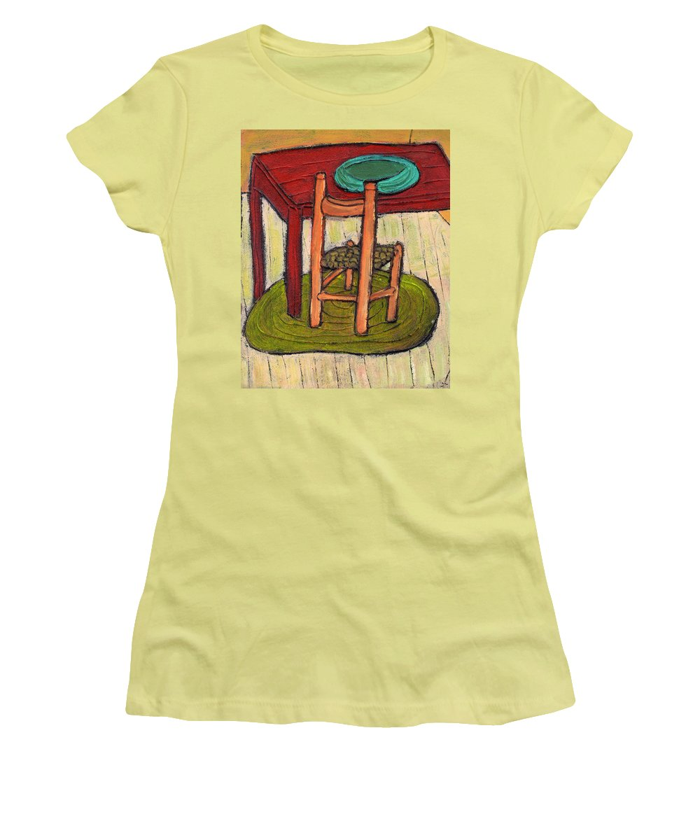 Kitchen Women's T-Shirt (Athletic Fit) featuring the painting Alone by Wayne Potrafka