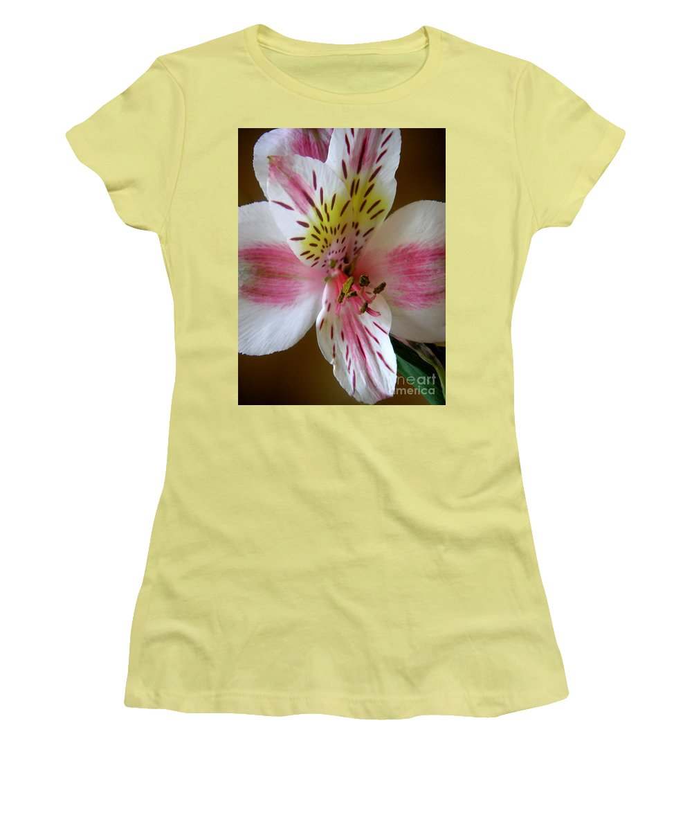 Nature Women's T-Shirt (Athletic Fit) featuring the photograph Alstroemerias - Close by Lucyna A M Green