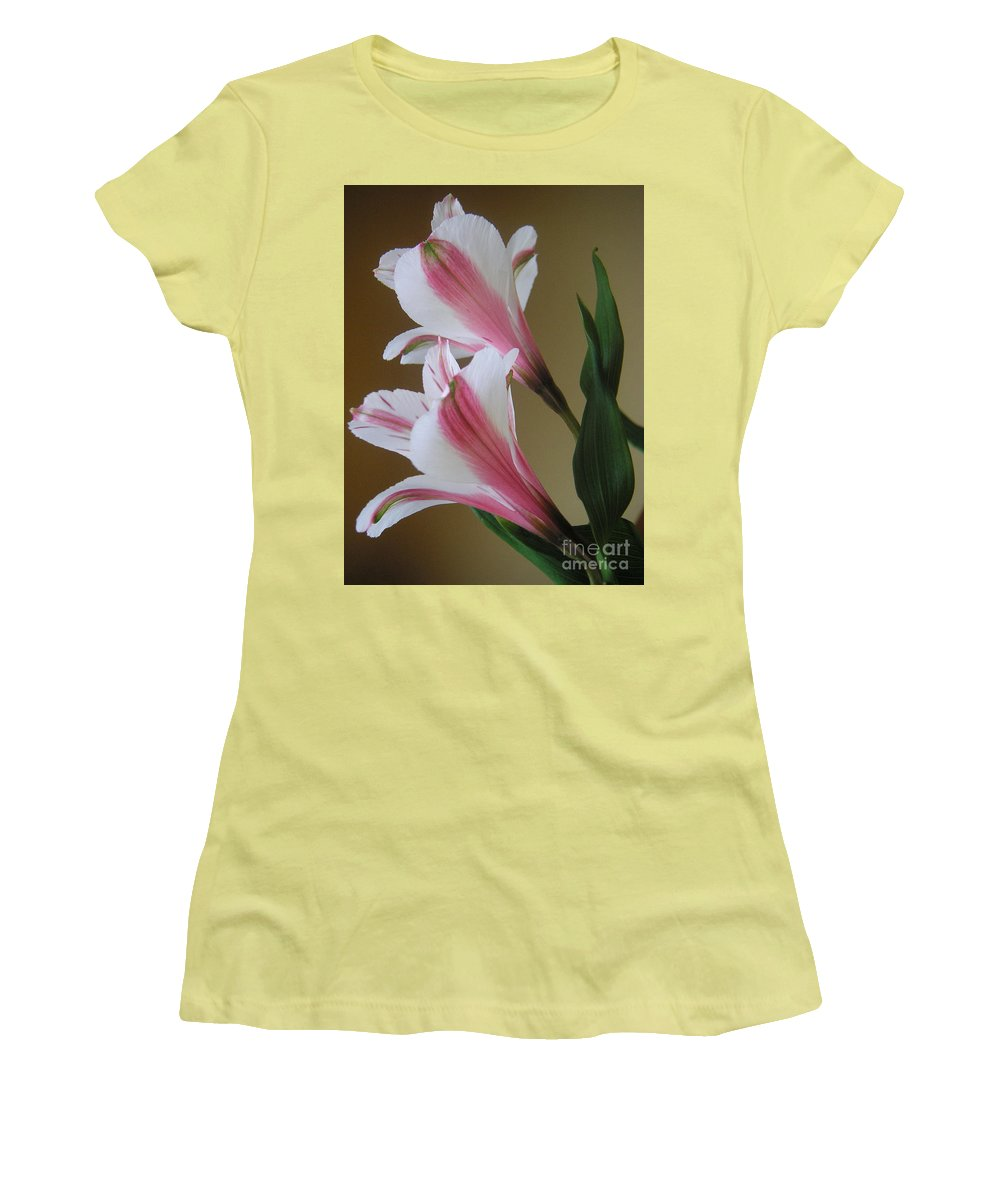 Nature Women's T-Shirt (Athletic Fit) featuring the photograph Alstroemerias - Doubled by Lucyna A M Green