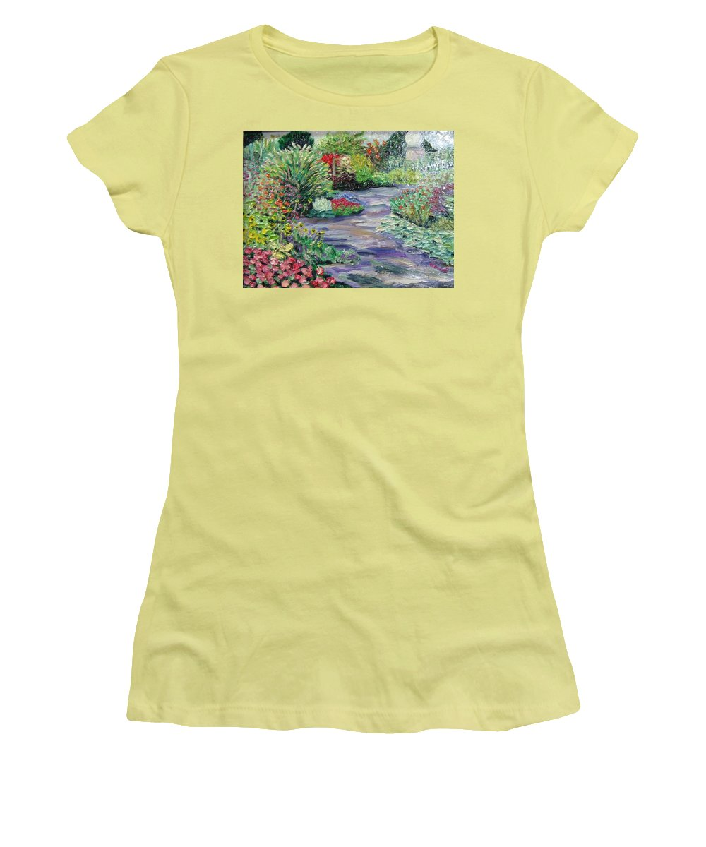 Park Women's T-Shirt (Athletic Fit) featuring the painting Amelia Park Blossoms by Richard Nowak