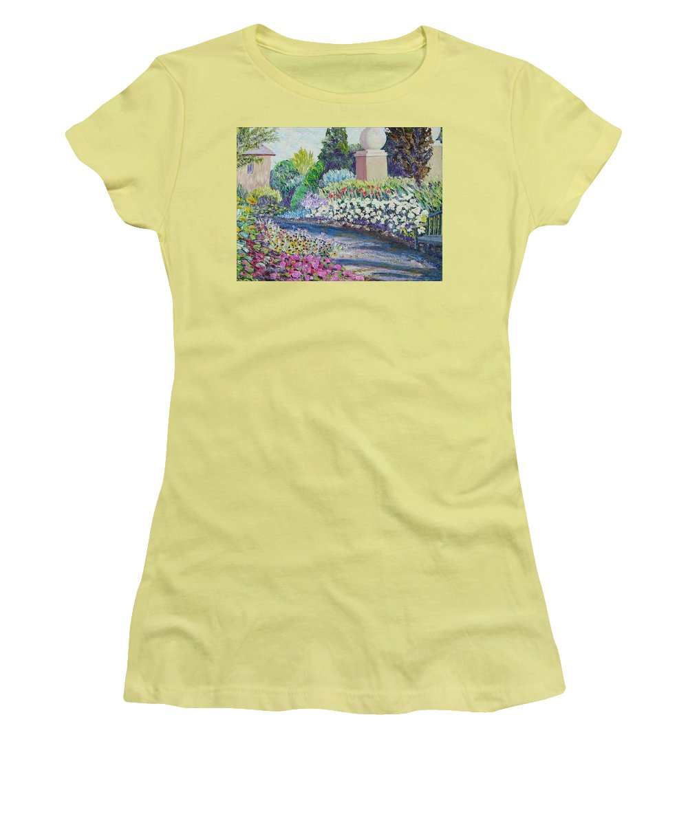 Flowers Women's T-Shirt (Athletic Fit) featuring the painting Amelia Park Pathway by Richard Nowak