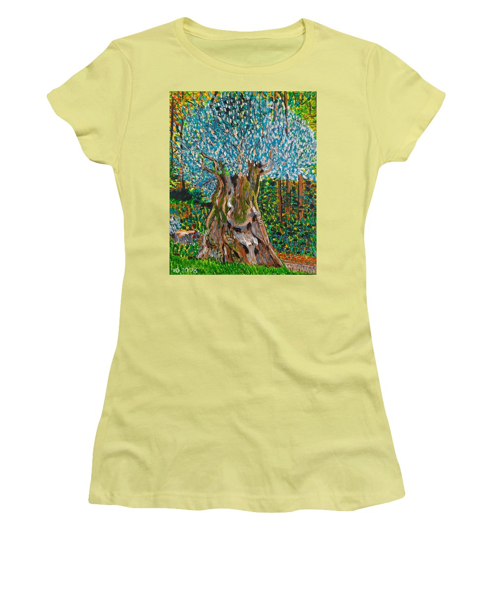 Olive Women's T-Shirt (Athletic Fit) featuring the painting Ancient Olive Tree by Valerie Ornstein