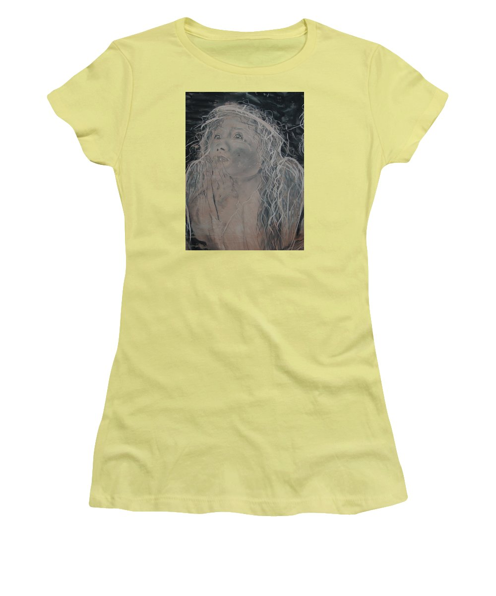 Women's T-Shirt (Athletic Fit) featuring the painting Angel 1 by J Bauer