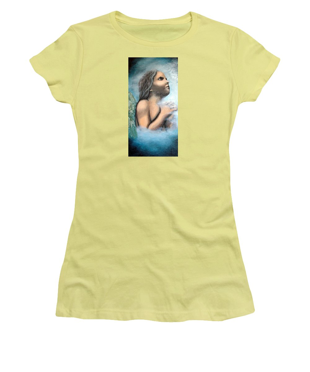 Angel Women's T-Shirt (Athletic Fit) featuring the painting Angel Of Faith by Elizabeth Lisy Figueroa