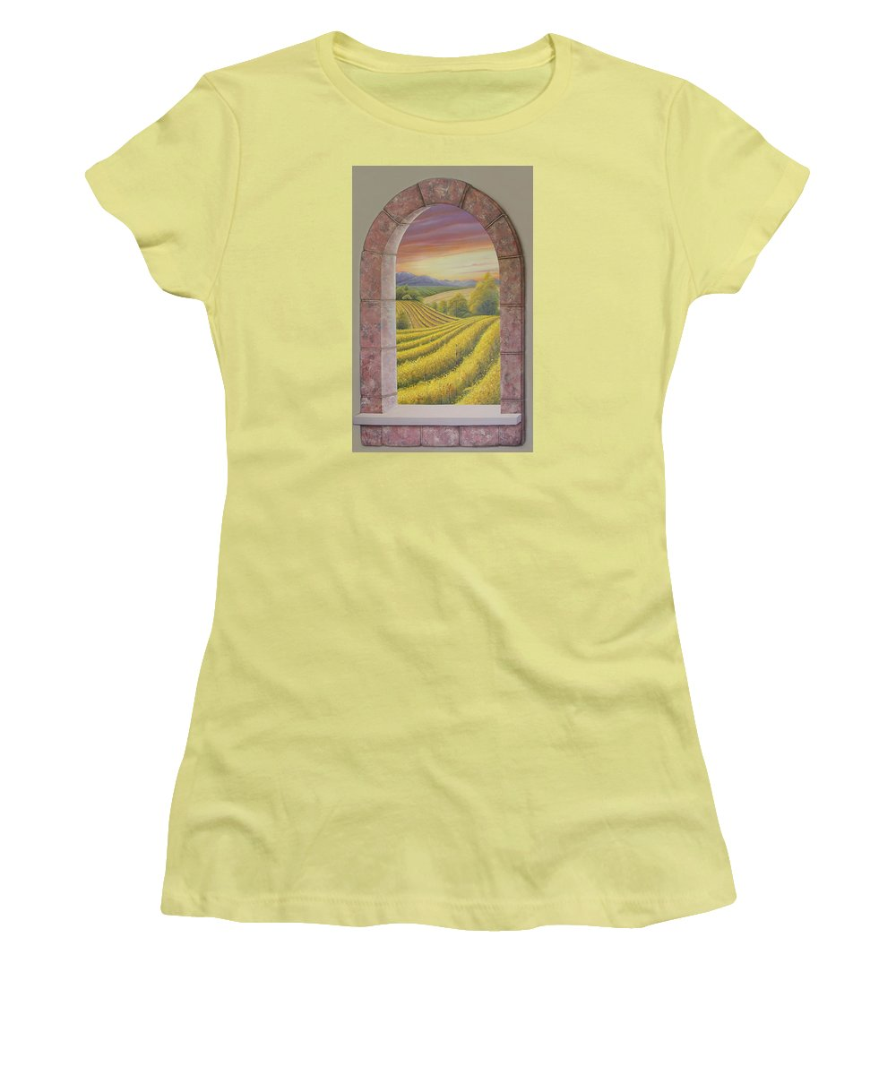 Realistic Women's T-Shirt (Athletic Fit) featuring the painting Arco Vinal by Angel Ortiz