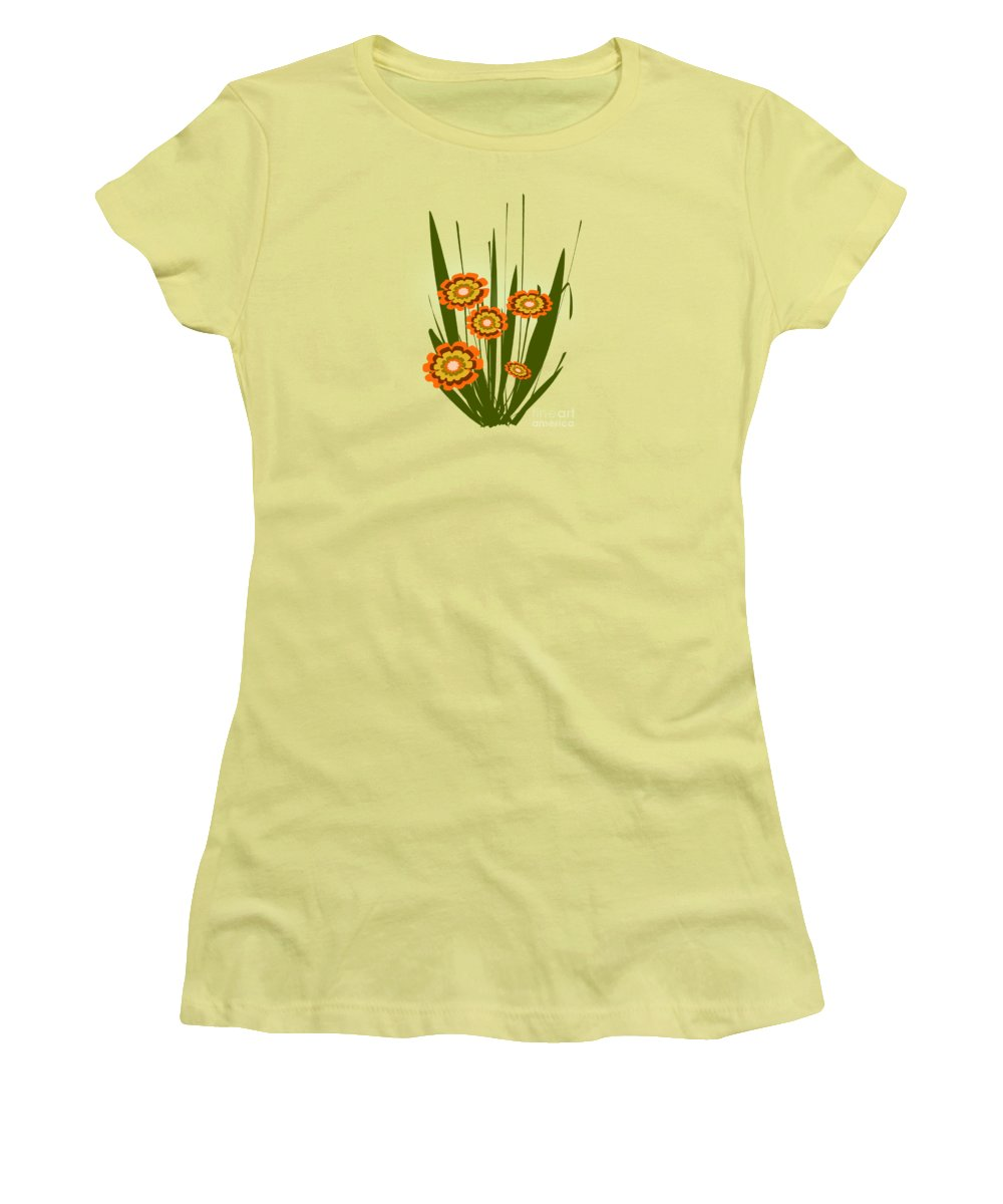 Malakhova Women's T-Shirt (Athletic Fit) featuring the digital art Orange Flowers by Anastasiya Malakhova