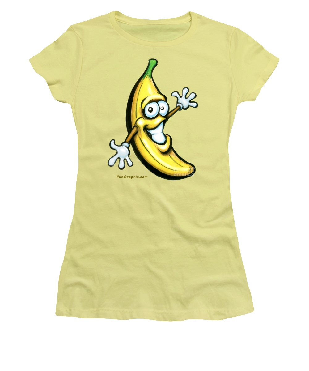 Banana Women's T-Shirt (Athletic Fit) featuring the painting Banana by Kevin Middleton