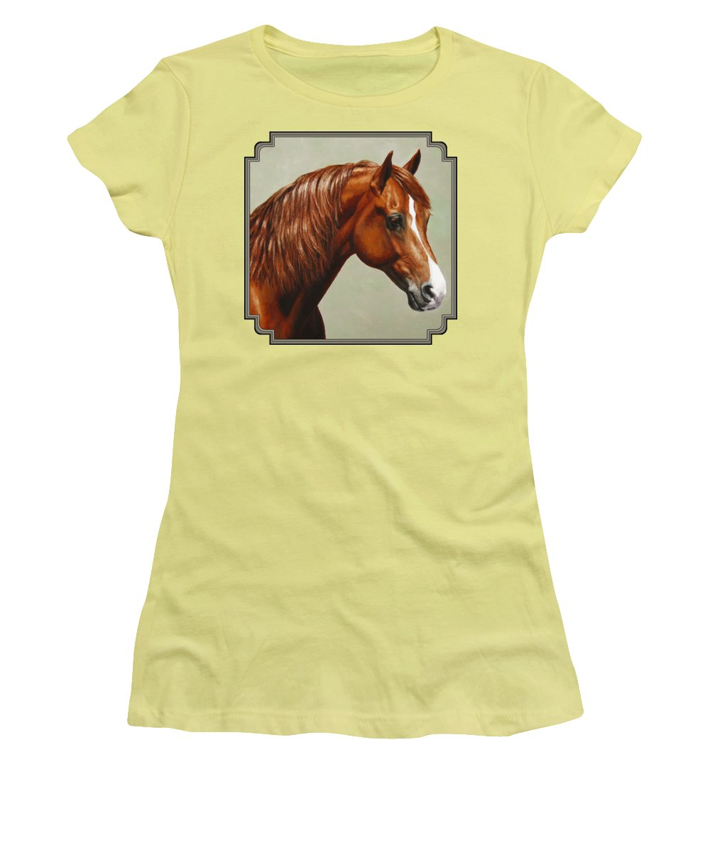 Horse Women's T-Shirt (Junior Cut) featuring the painting Morgan Horse - Flame by Crista Forest
