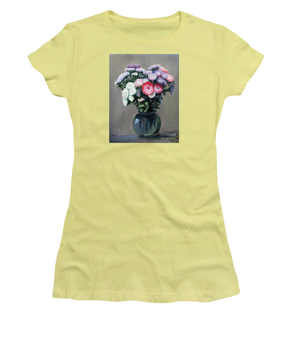 Flowers Women's T-Shirt (Athletic Fit) featuring the painting Asters by Paul Walsh