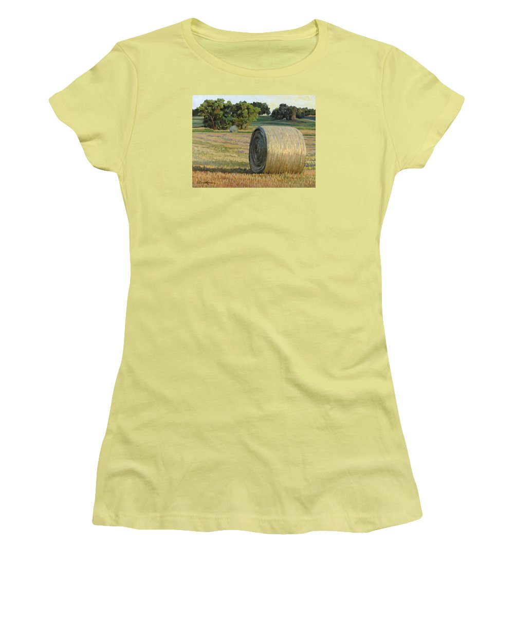 Landscape Women's T-Shirt (Athletic Fit) featuring the painting August Bales by Bruce Morrison