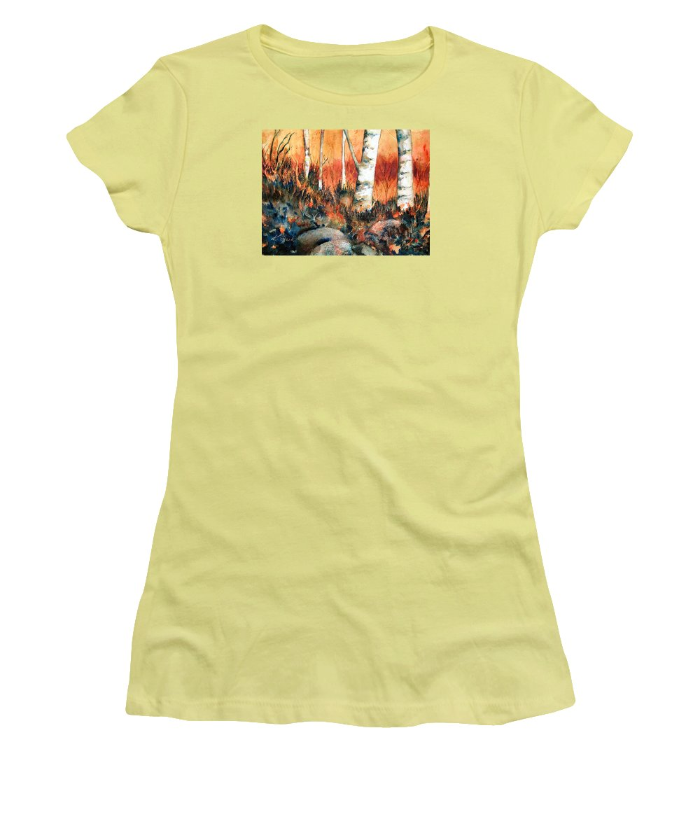 Landscape Women's T-Shirt (Athletic Fit) featuring the painting Autumn by Karen Stark
