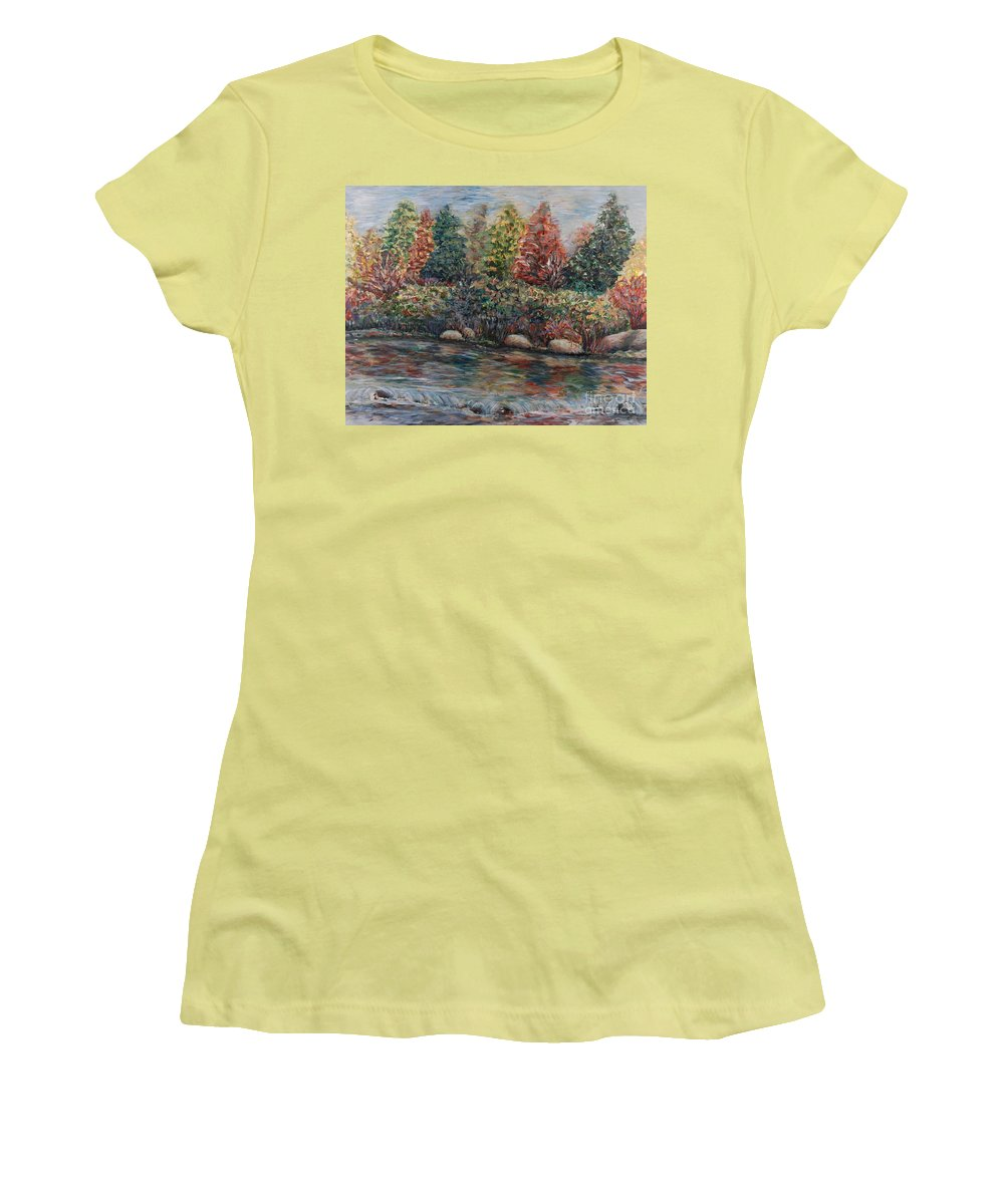 Autumn Women's T-Shirt (Athletic Fit) featuring the painting Autumn Stream by Nadine Rippelmeyer