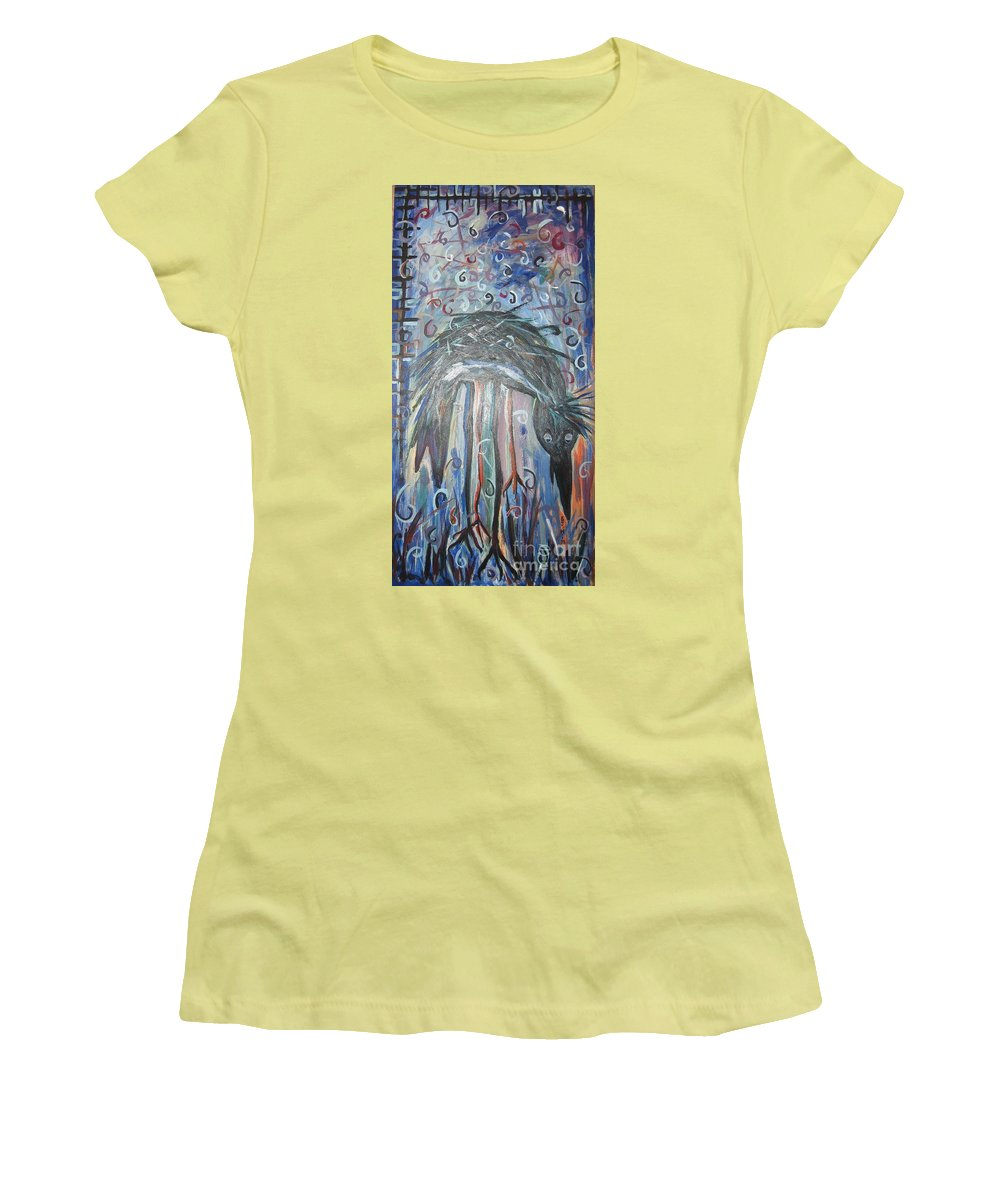 Crow Paintings Women's T-Shirt (Athletic Fit) featuring the painting Baby Crow11 by Seon-Jeong Kim
