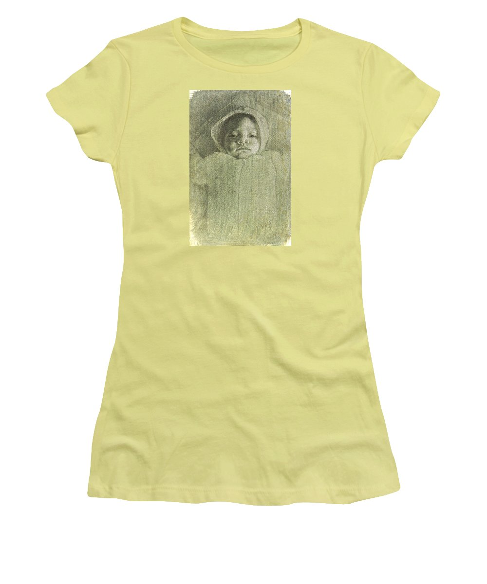 Women's T-Shirt (Athletic Fit) featuring the painting Baby Self Portrait by Joe Velez