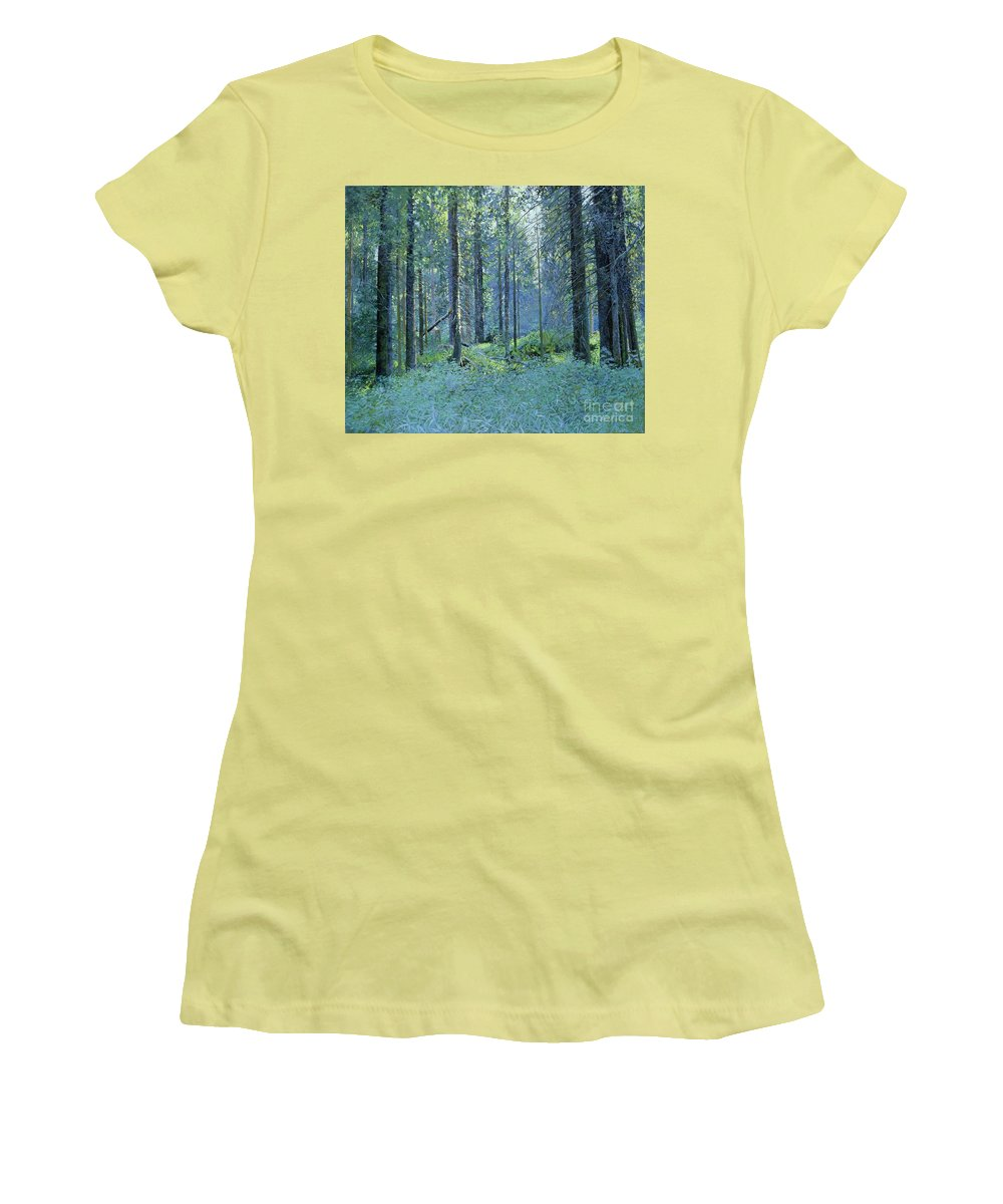 Balaam Women's T-Shirt (Athletic Fit) featuring the painting Balaam.thick Of The Forest by Simon Kozhin
