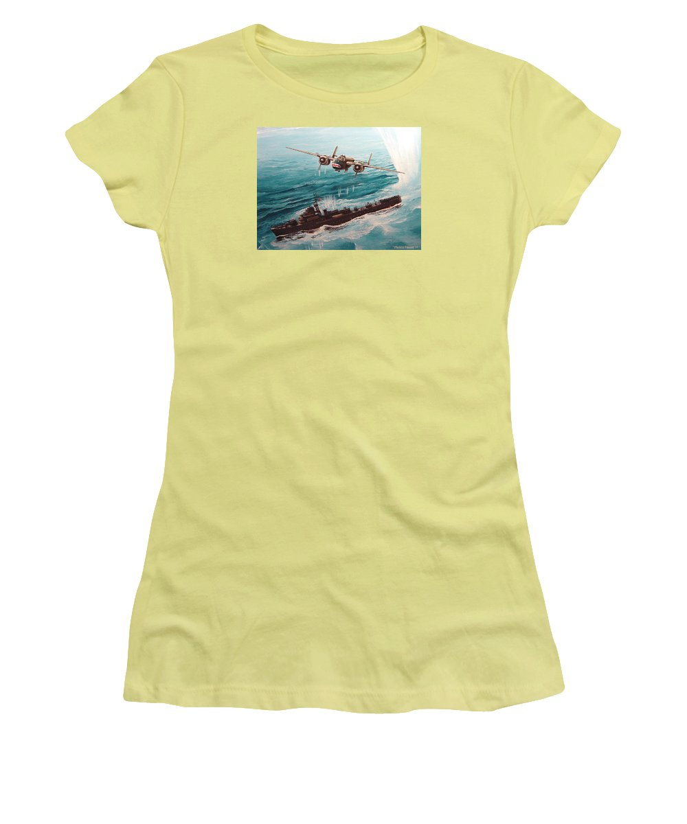 Military Women's T-Shirt (Athletic Fit) featuring the painting Bat Outta Hell by Marc Stewart