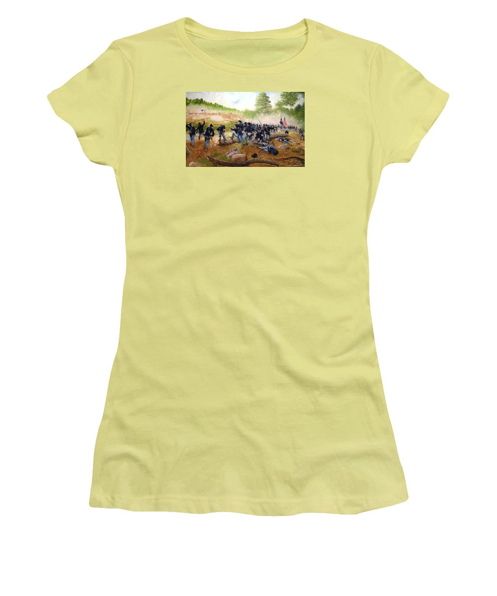 Civil War Women's T-Shirt (Junior Cut) featuring the painting Battle Of Utoy Creek by Marc Stewart