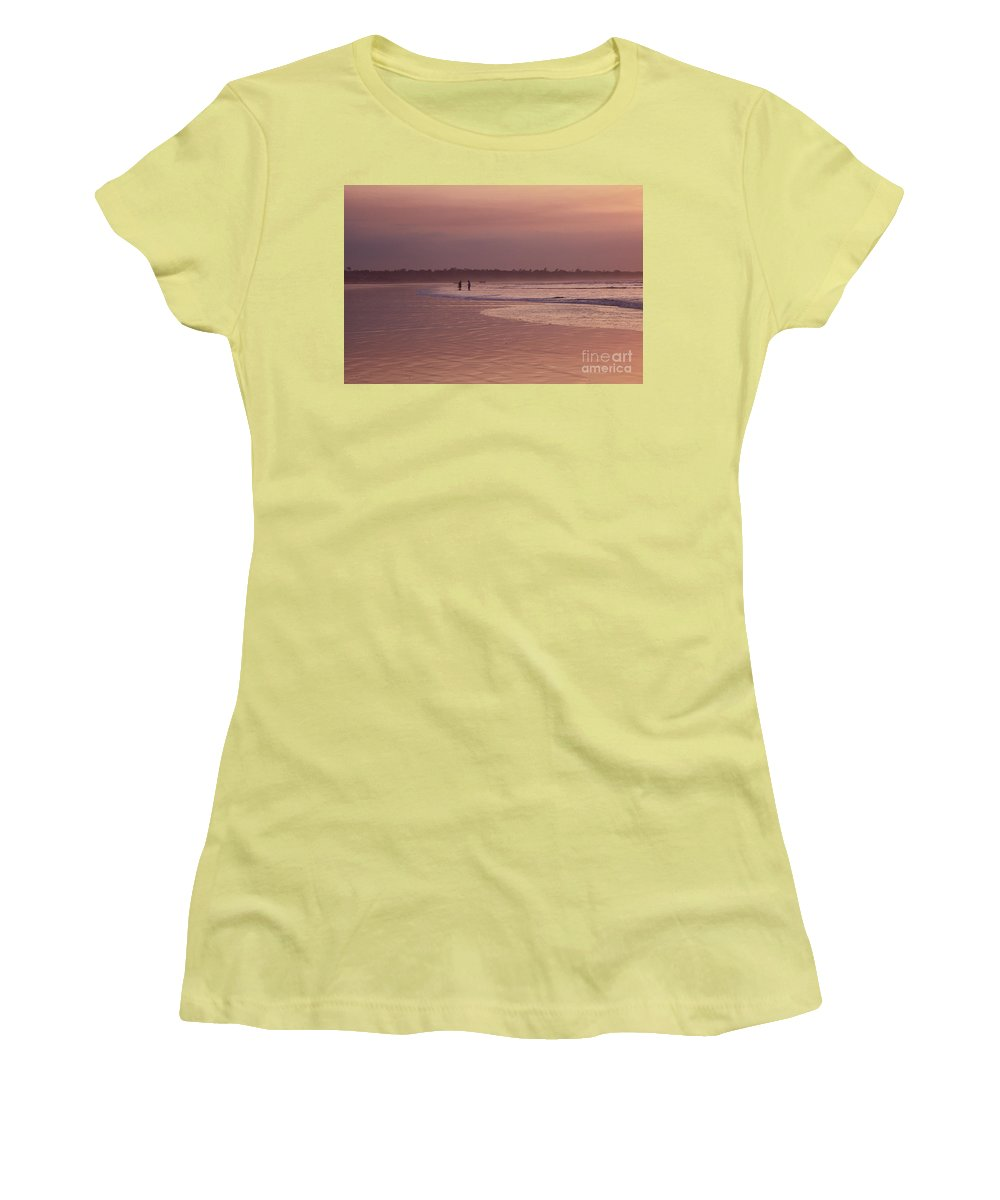 Ecuador Women's T-Shirt (Athletic Fit) featuring the photograph Beachcombers by Kathy McClure