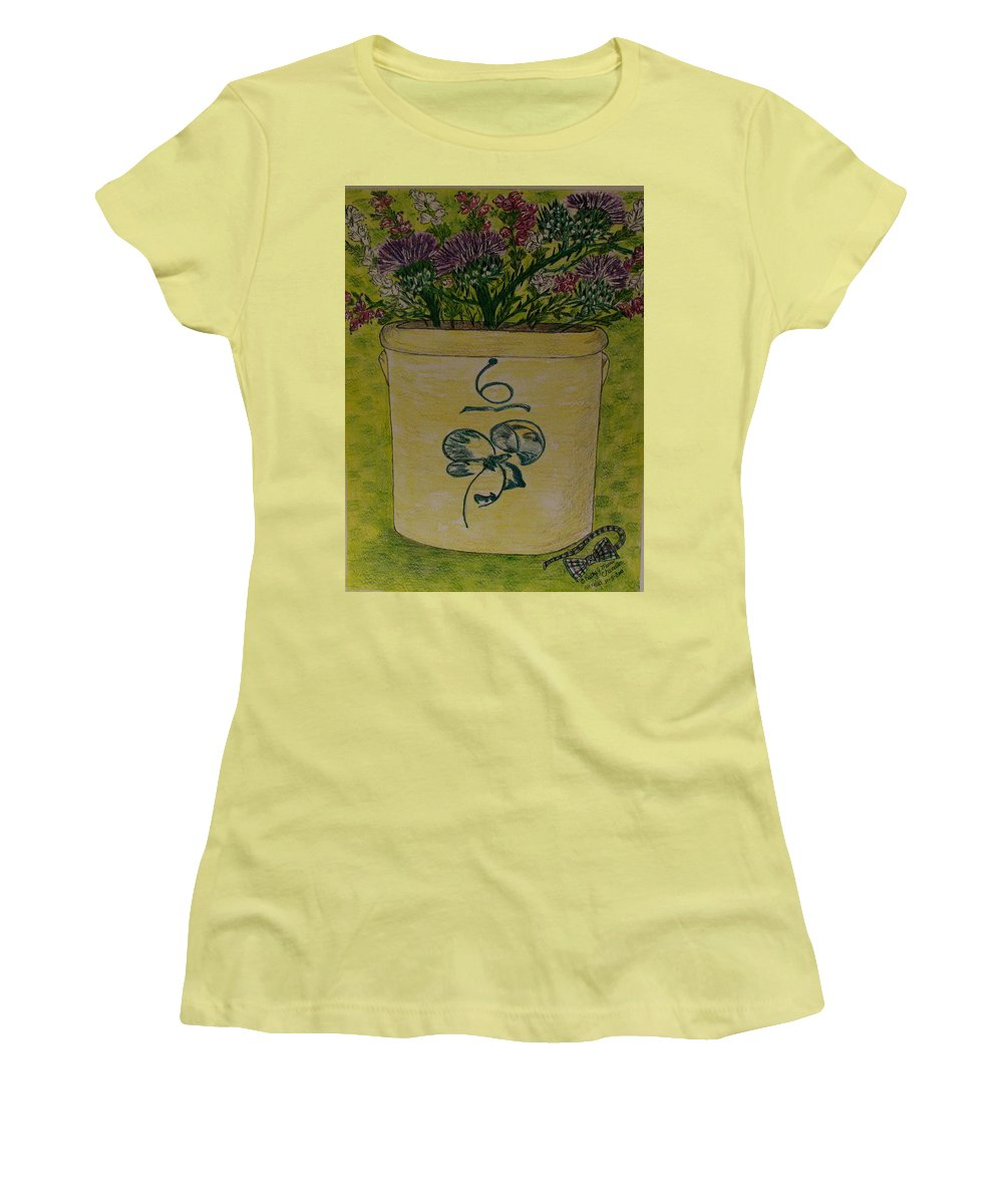 Bee Sting Crock Women's T-Shirt (Athletic Fit) featuring the painting Bee Sting Crock With Good Luck Bow Heather And Thistles by Kathy Marrs Chandler
