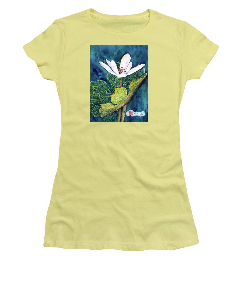 White Flower Women's T-Shirt (Athletic Fit) featuring the painting Blood Root by Norma Boeckler