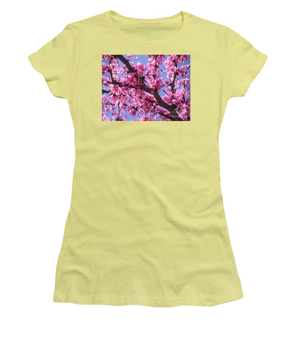 Nature Women's T-Shirt (Athletic Fit) featuring the photograph Blooming Red Buds by Lucyna A M Green