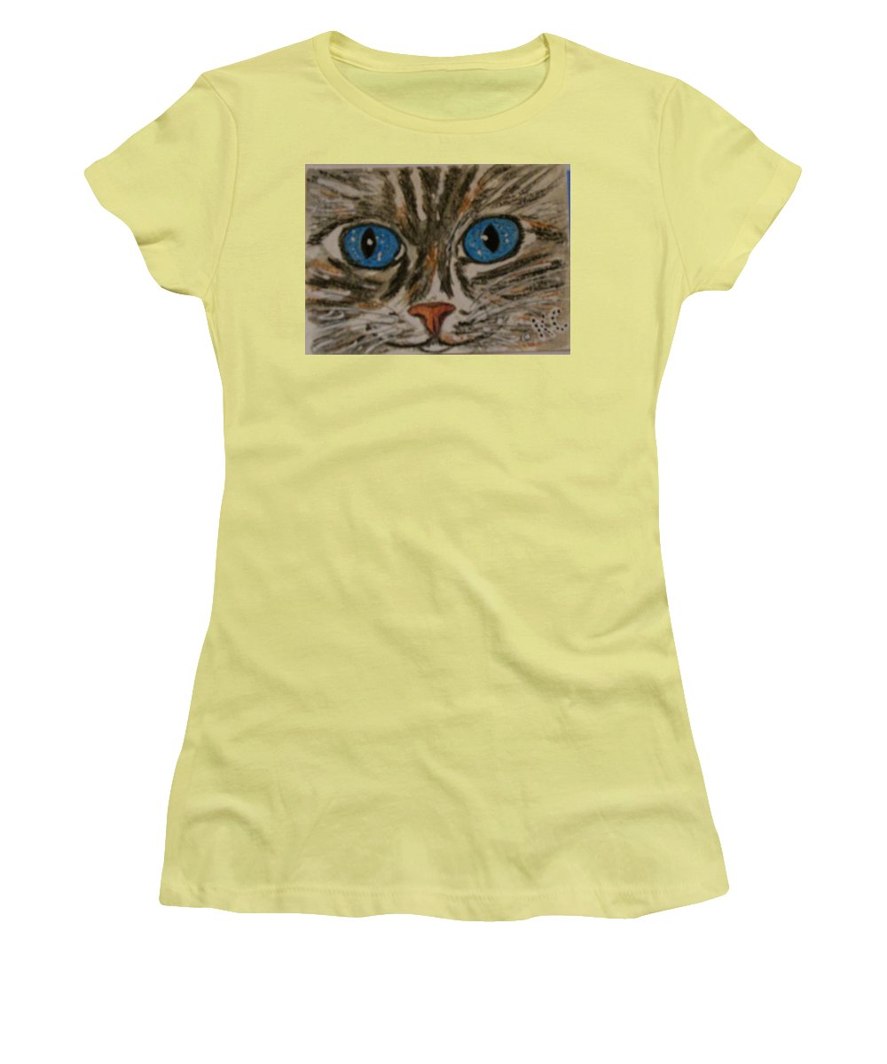 Blue Eyes Women's T-Shirt (Athletic Fit) featuring the painting Blue Eyed Tiger Cat by Kathy Marrs Chandler