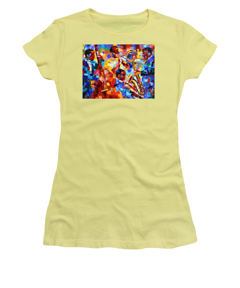Jazz Women's T-Shirt (Athletic Fit) featuring the painting Bold Jazz Quartet by Debra Hurd