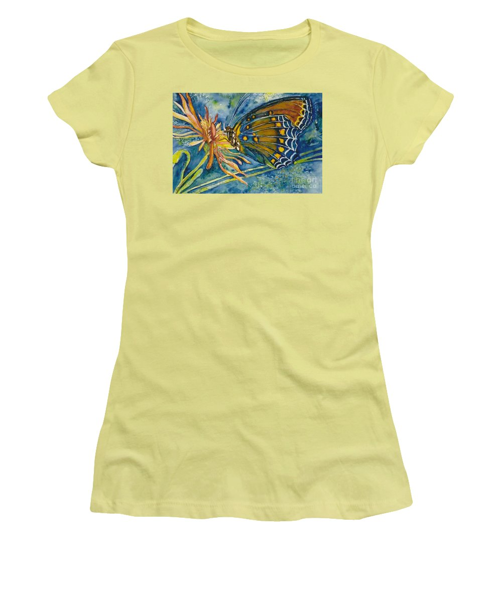 Butterflies Women's T-Shirt (Athletic Fit) featuring the painting Butterfly In Ca by Norma Boeckler