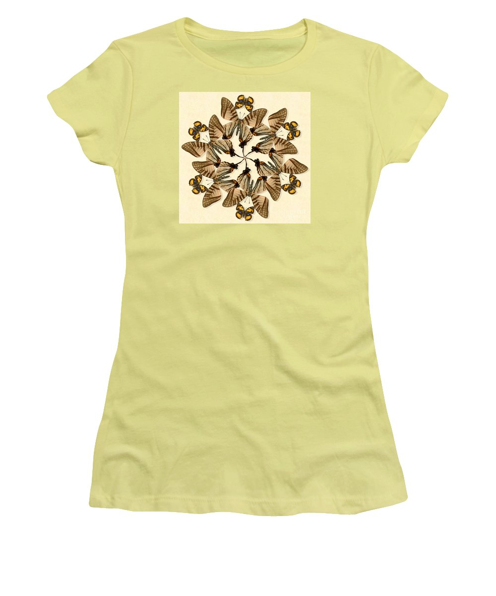 Butterfly Women's T-Shirt (Athletic Fit) featuring the photograph Butterfly Wheel Dance by Melissa A Benson