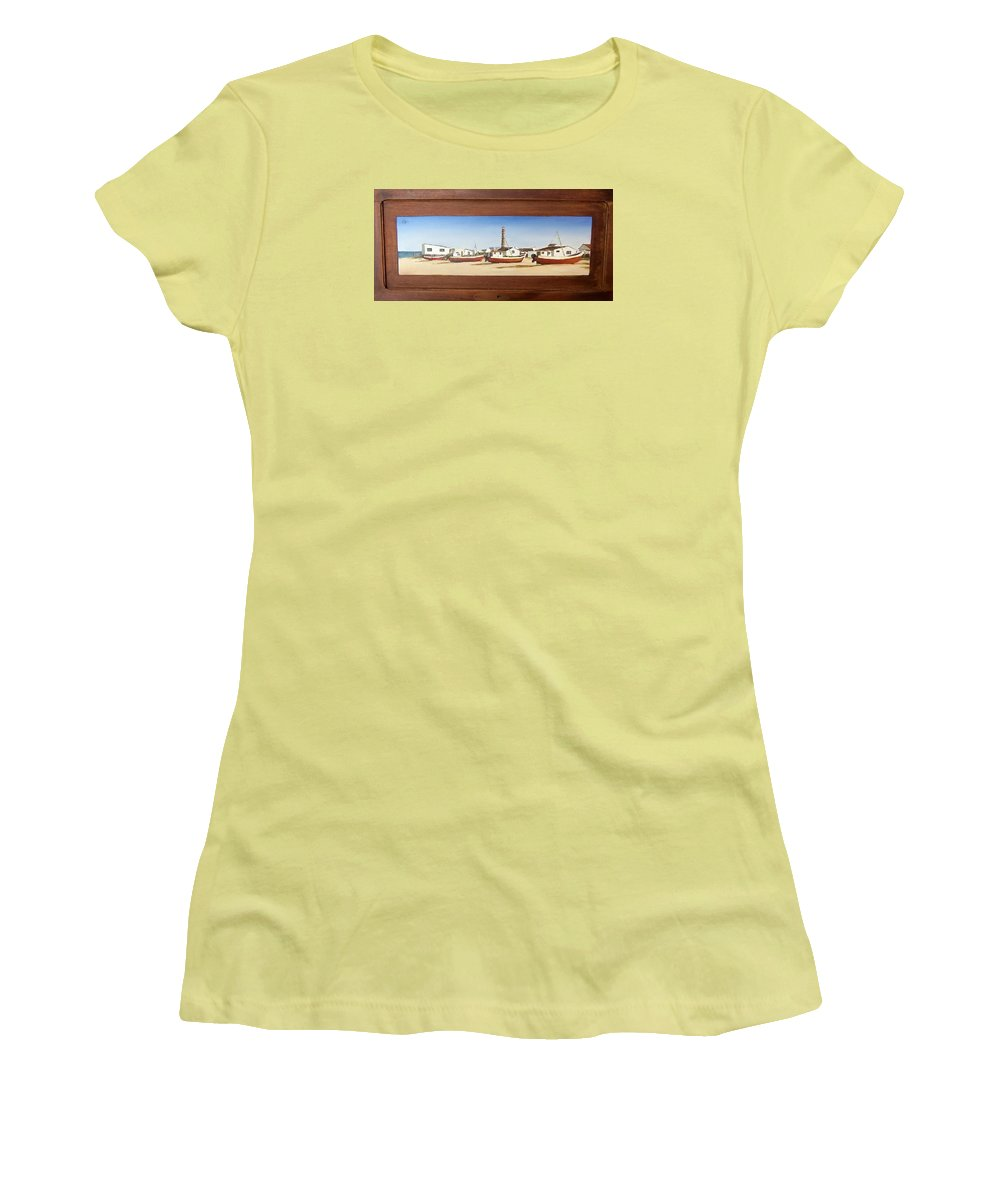 Landscape Seascape Uruguay Beach Boats Sea Lighthouse Women's T-Shirt (Athletic Fit) featuring the painting Cabo Polonio 2 by Natalia Tejera