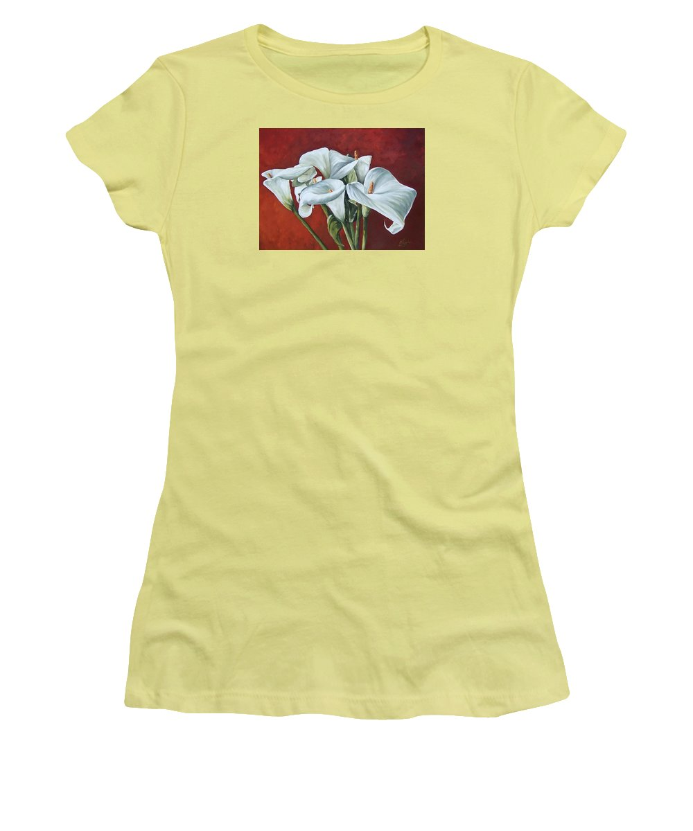 Calas Women's T-Shirt (Athletic Fit) featuring the painting Calas by Natalia Tejera