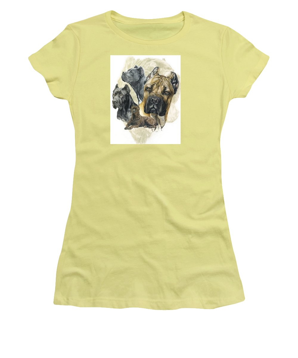 Working Women's T-Shirt (Athletic Fit) featuring the mixed media Cane Corso W/ghost by Barbara Keith
