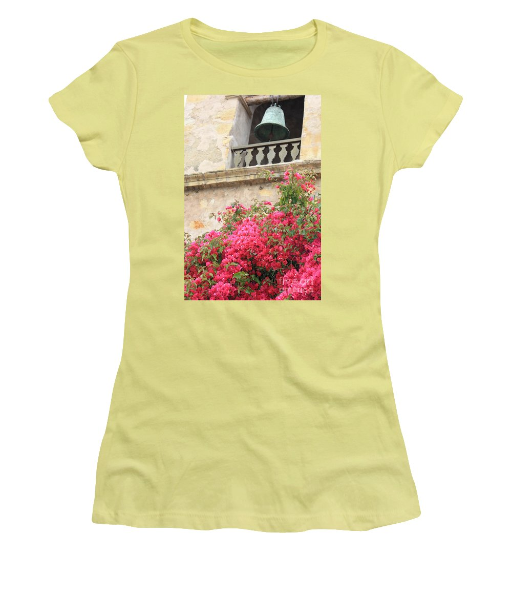 Carmel-by-the-sea Women's T-Shirt (Athletic Fit) featuring the photograph Carmel Mission Bell by Carol Groenen