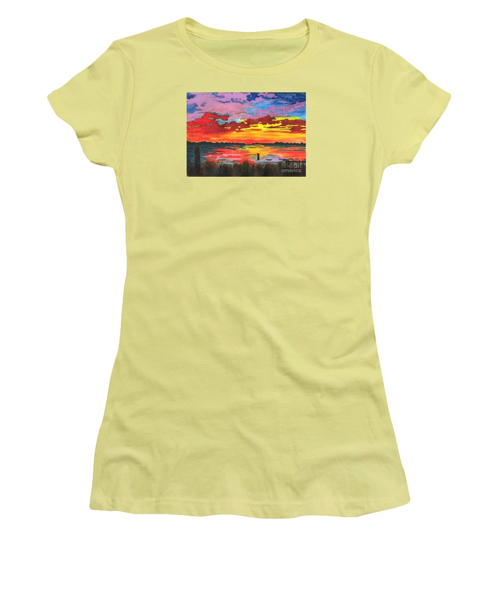Original Painting Women's T-Shirt (Athletic Fit) featuring the painting Carolina Sunset by Patricia Griffin Brett