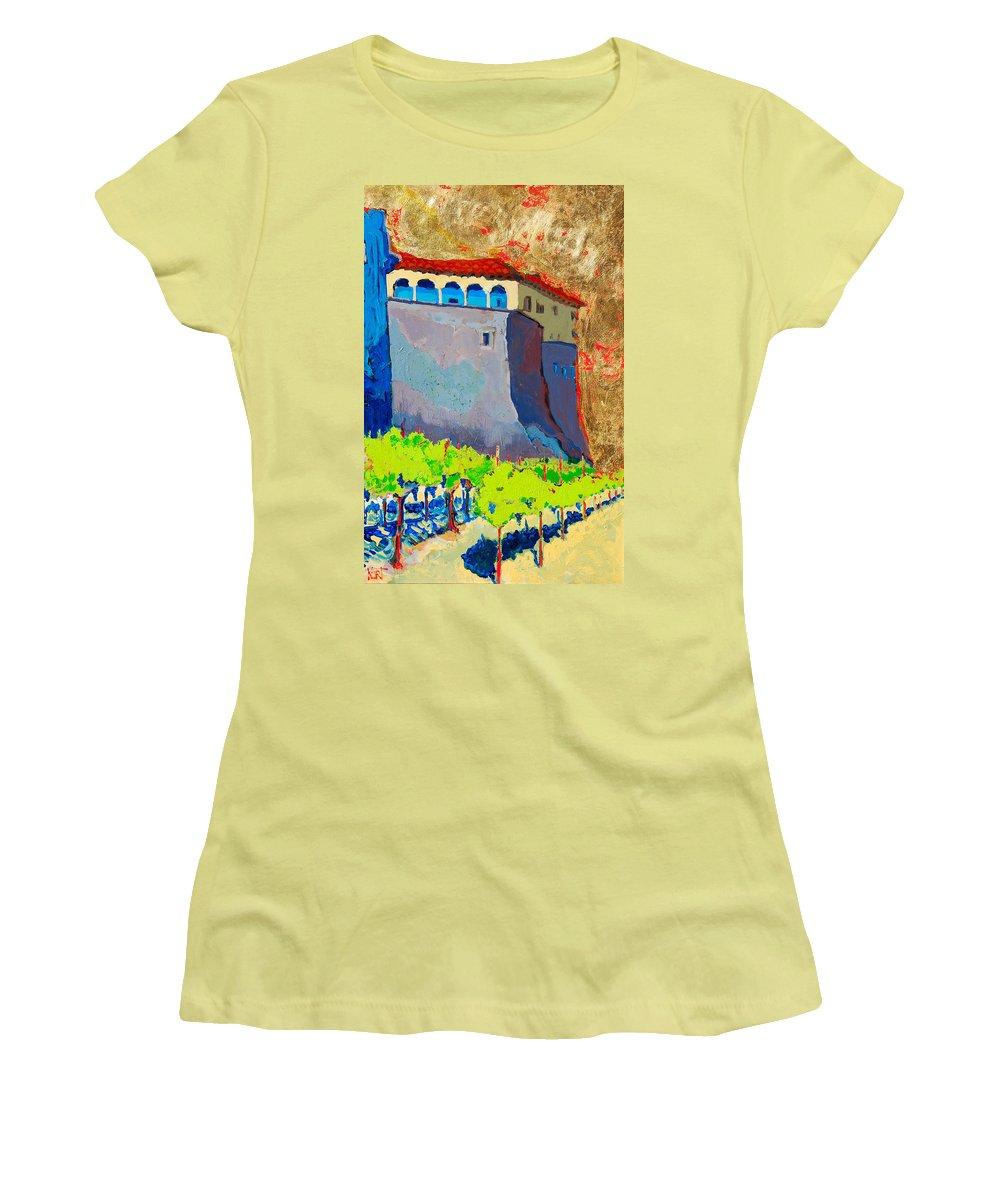 Castle Women's T-Shirt (Athletic Fit) featuring the painting Castello Di Villafranca by Kurt Hausmann