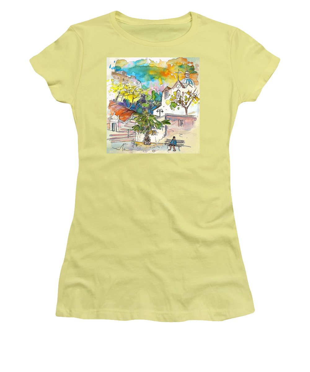 Castro Marim Portugal Algarve Painting Travel Sketch Women's T-Shirt (Athletic Fit) featuring the painting Castro Marim Portugal 13 by Miki De Goodaboom