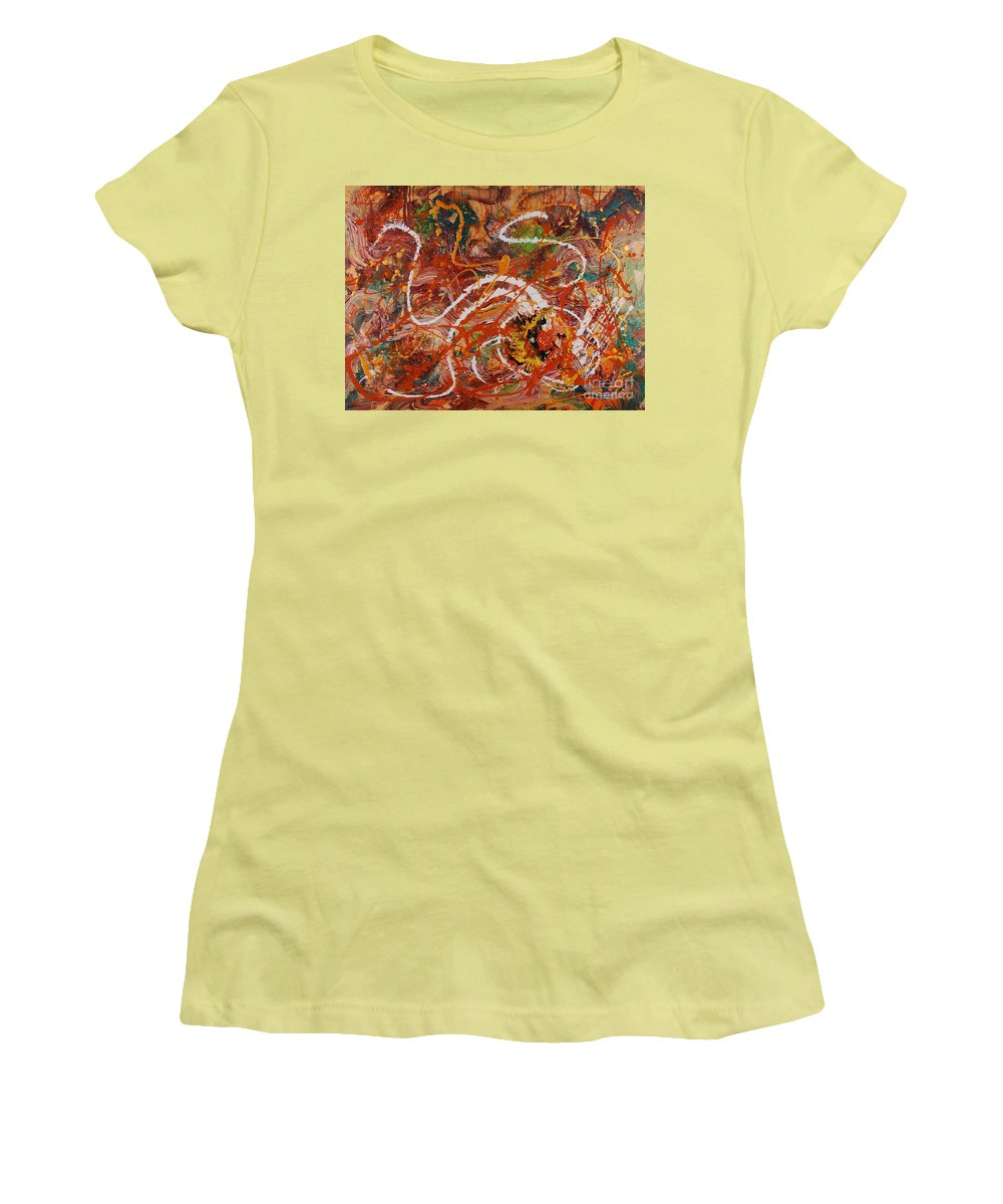 Orange Women's T-Shirt (Athletic Fit) featuring the painting Celebration II by Nadine Rippelmeyer